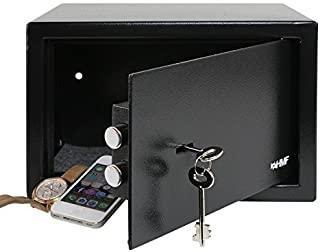 Caja Fuerte con 2 Llaves 23 x 17 x 17,3 cm Caja Fuerte peque/ña con m/óvil de Acero Color Negro GOTOTO